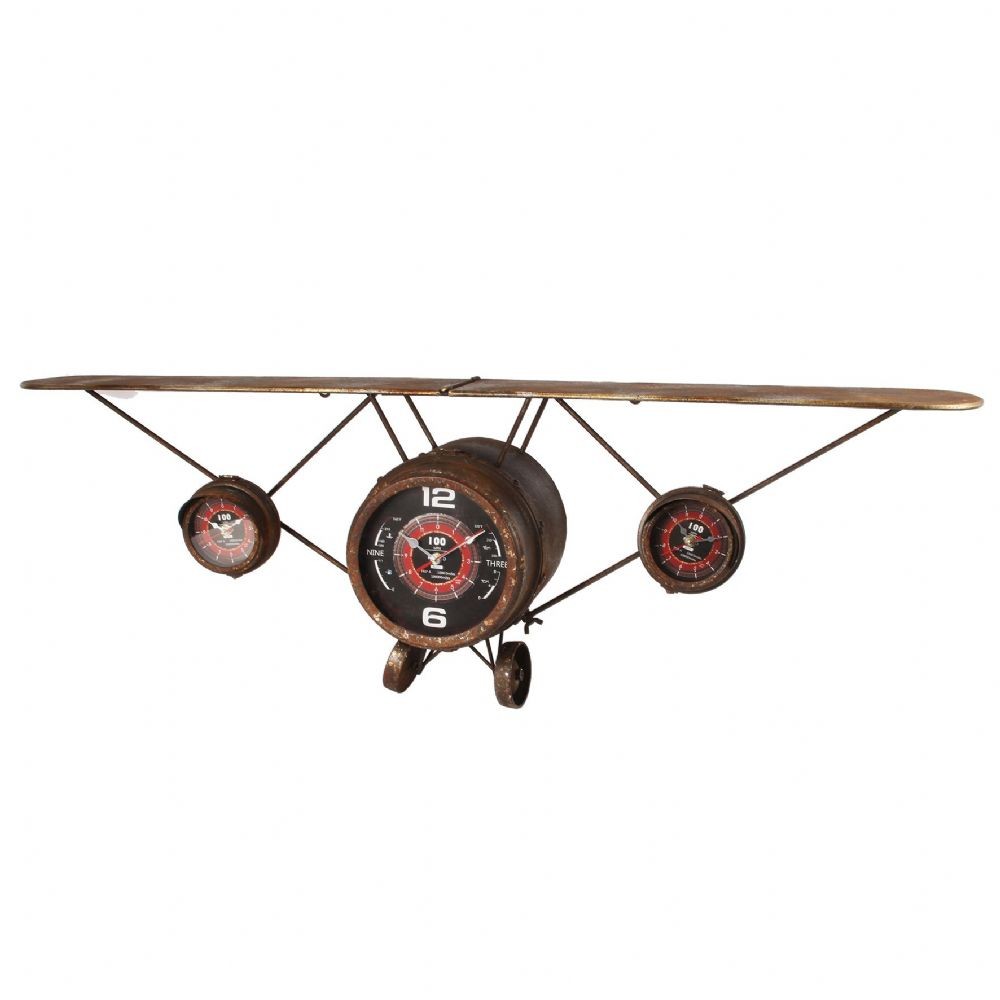 Vintage Aeroplane 1.2m Metal Art  Quartz Wall Clock